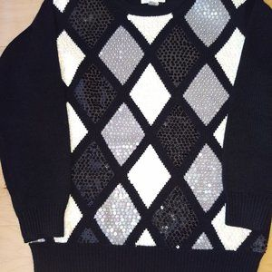 Alfred stunning diamond sequined pattern blk & wht